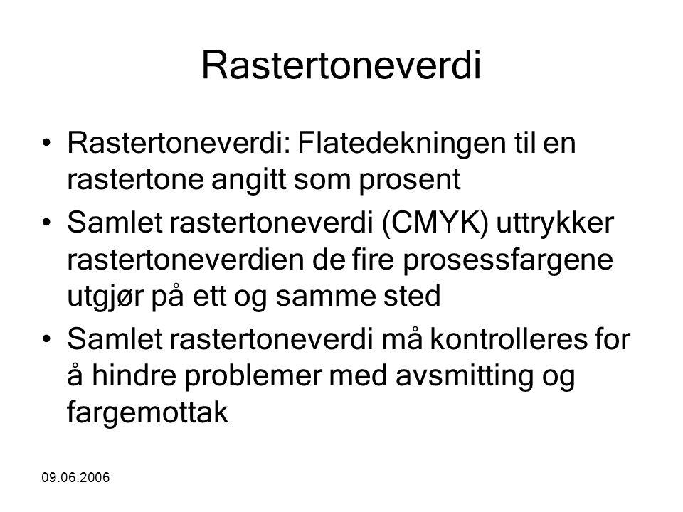 09.06.2006 Rastertoneverdi Rastertoneverdi: Flatedekningen til en rastertone angitt som prosent Samlet rastertoneverdi (CMYK) uttrykker rastertoneverd