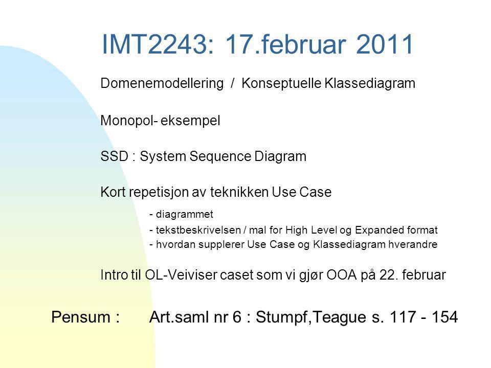 IMT2243: 17.februar 2011 Domenemodellering / Konseptuelle Klassediagram Monopol- eksempel SSD : System Sequence Diagram Kort repetisjon av teknikken U