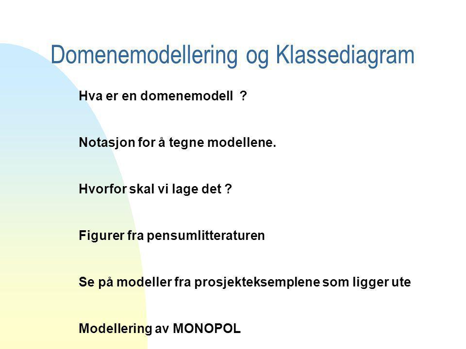 Domenemodellering og Klassediagram Hva er en domenemodell ? Notasjon for å tegne modellene. Hvorfor skal vi lage det ? Figurer fra pensumlitteraturen