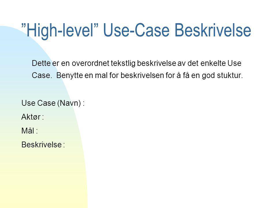 Expanded Use-Case Beskrivelse Use Case (Navn) : Aktør : Mål : Beskrivelse : Type : Pre betingelser : Post betingelser : Spesielle krav ( eks.