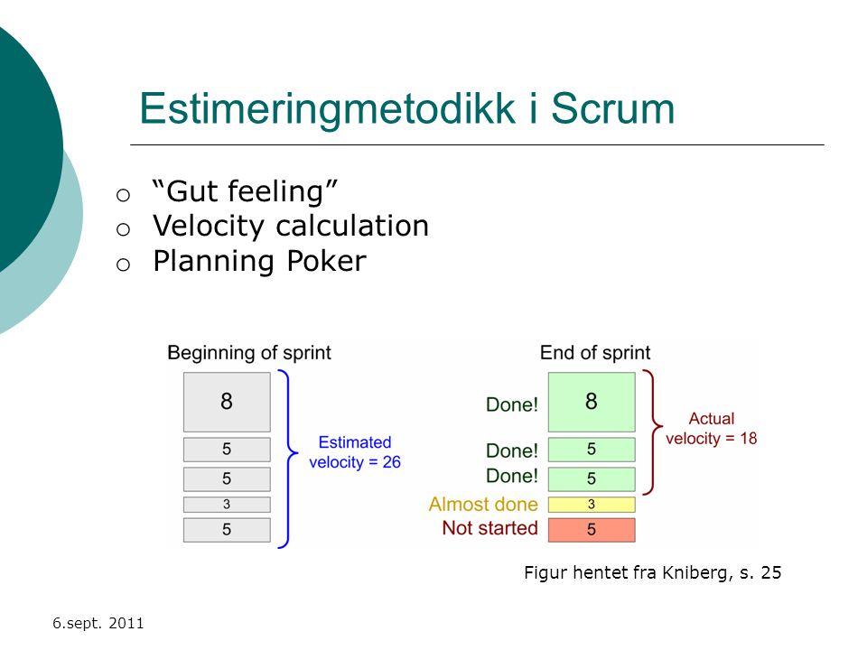 Estimeringmetodikk i Scrum 6.sept. 2011 Figur hentet fra Kniberg, s.