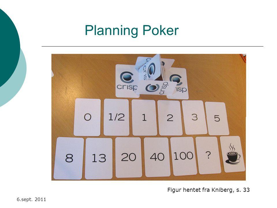 Planning Poker 6.sept. 2011 Figur hentet fra Kniberg, s. 33
