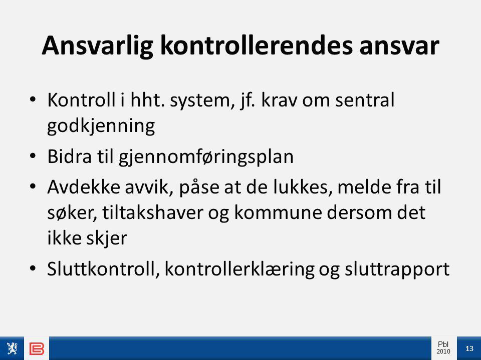 Info pbl 2010 Pbl 2010 Ansvarlig kontrollerendes ansvar Kontroll i hht.