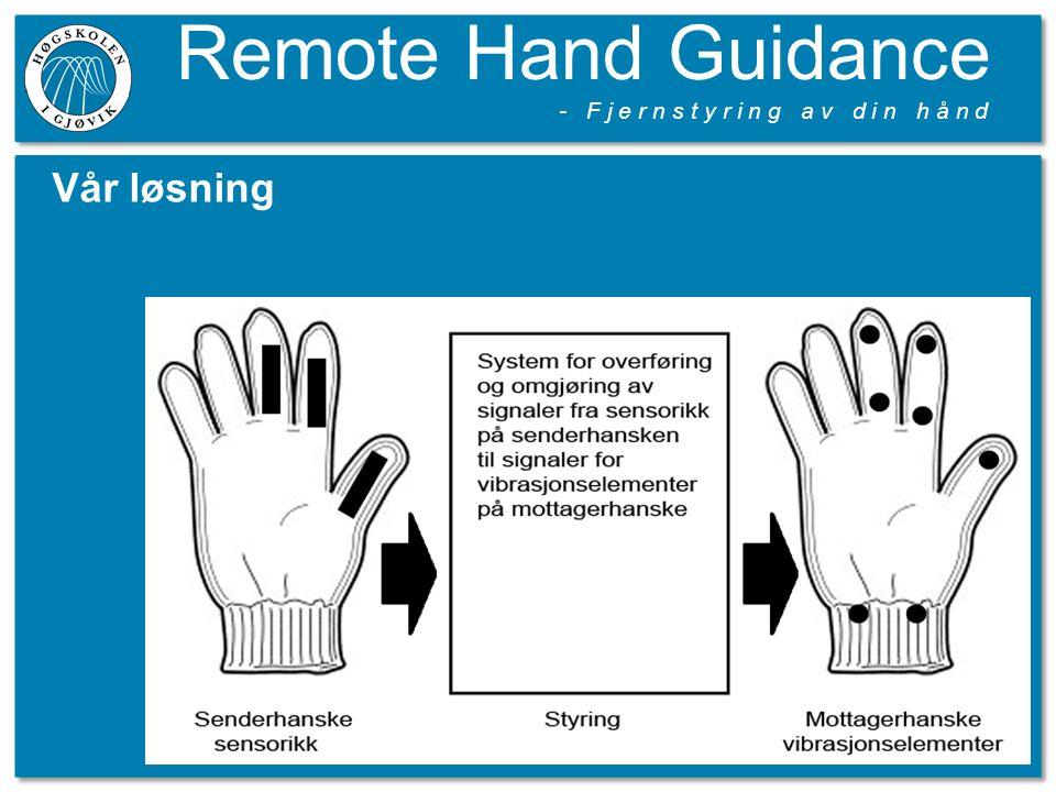 Remote Hand Guidance - F j e r n s t y r i n g a v d i n h å n d Vår løsning