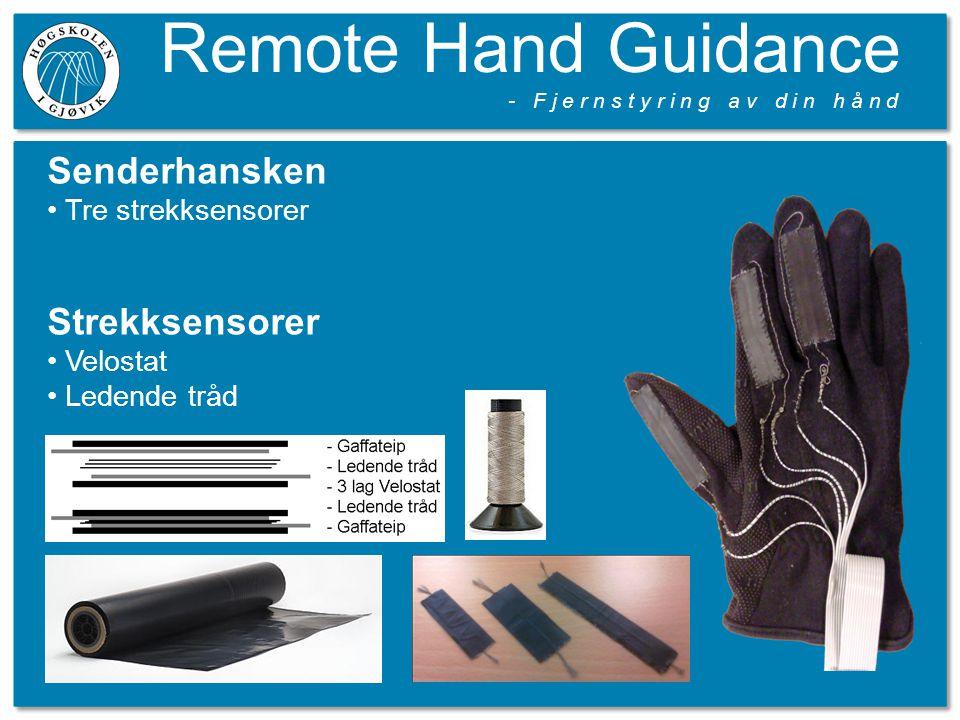 Remote Hand Guidance - F j e r n s t y r i n g a v d i n h å n d Senderhansken Tre strekksensorer Strekksensorer Velostat Ledende tråd