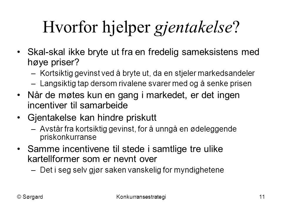 © SørgardKonkurransestrategi11 Hvorfor hjelper gjentakelse? Skal-skal ikke bryte ut fra en fredelig sameksistens med høye priser? –Kortsiktig gevinst