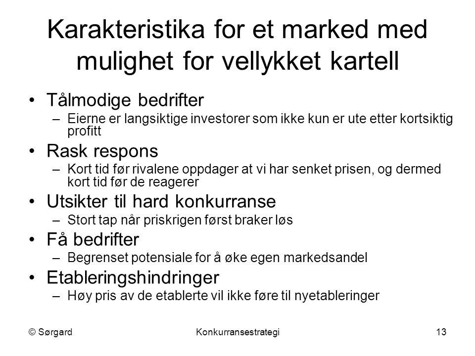 © SørgardKonkurransestrategi13 Karakteristika for et marked med mulighet for vellykket kartell Tålmodige bedrifter –Eierne er langsiktige investorer s