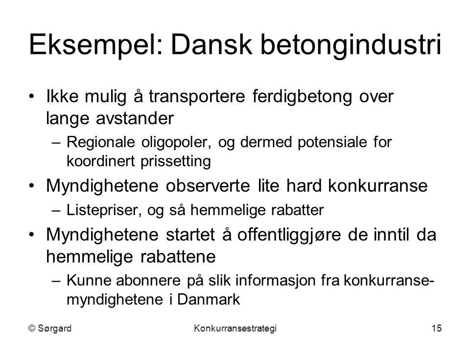 © SørgardKonkurransestrategi15 Eksempel: Dansk betongindustri Ikke mulig å transportere ferdigbetong over lange avstander –Regionale oligopoler, og de
