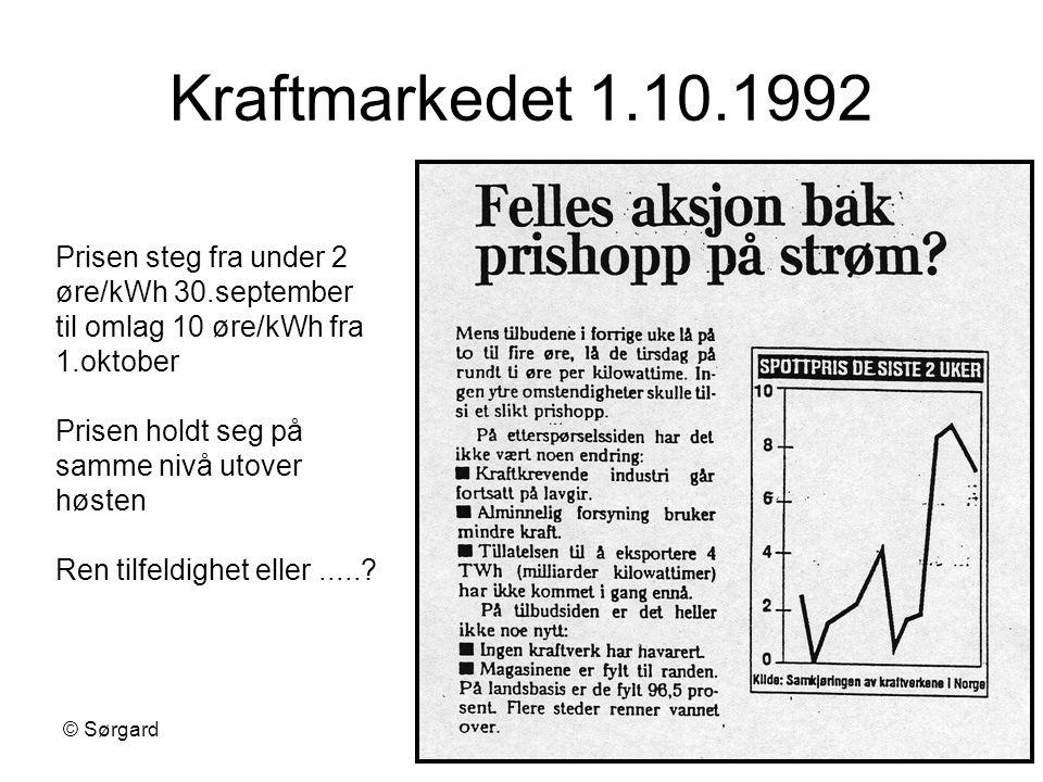 © SørgardKonkurransestrategi19 Kraftmarkedet 1.10.1992 Prisen steg fra under 2 øre/kWh 30.september til omlag 10 øre/kWh fra 1.oktober Prisen holdt se