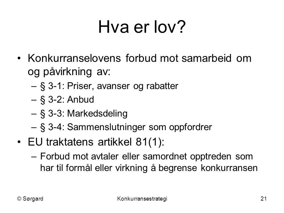 © SørgardKonkurransestrategi21 Hva er lov? Konkurranselovens forbud mot samarbeid om og påvirkning av: –§ 3-1: Priser, avanser og rabatter –§ 3-2: Anb