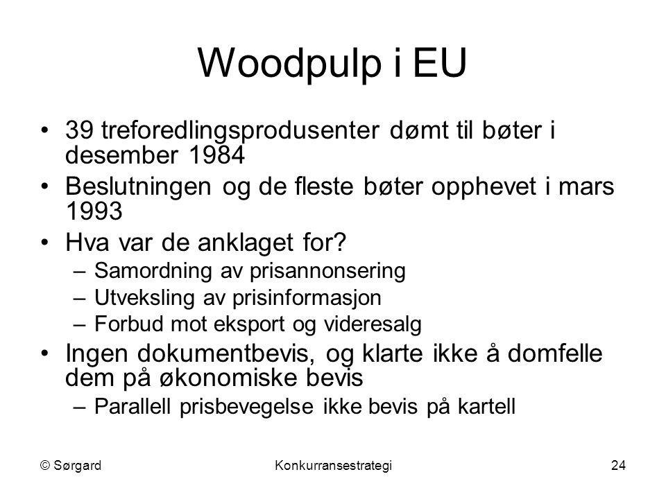 © SørgardKonkurransestrategi24 Woodpulp i EU 39 treforedlingsprodusenter dømt til bøter i desember 1984 Beslutningen og de fleste bøter opphevet i mar