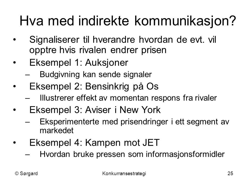 © SørgardKonkurransestrategi25 Hva med indirekte kommunikasjon? Signaliserer til hverandre hvordan de evt. vil opptre hvis rivalen endrer prisen Eksem