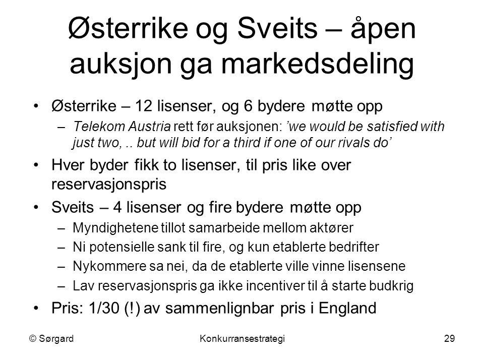 © SørgardKonkurransestrategi29 Østerrike og Sveits – åpen auksjon ga markedsdeling Østerrike – 12 lisenser, og 6 bydere møtte opp –Telekom Austria ret