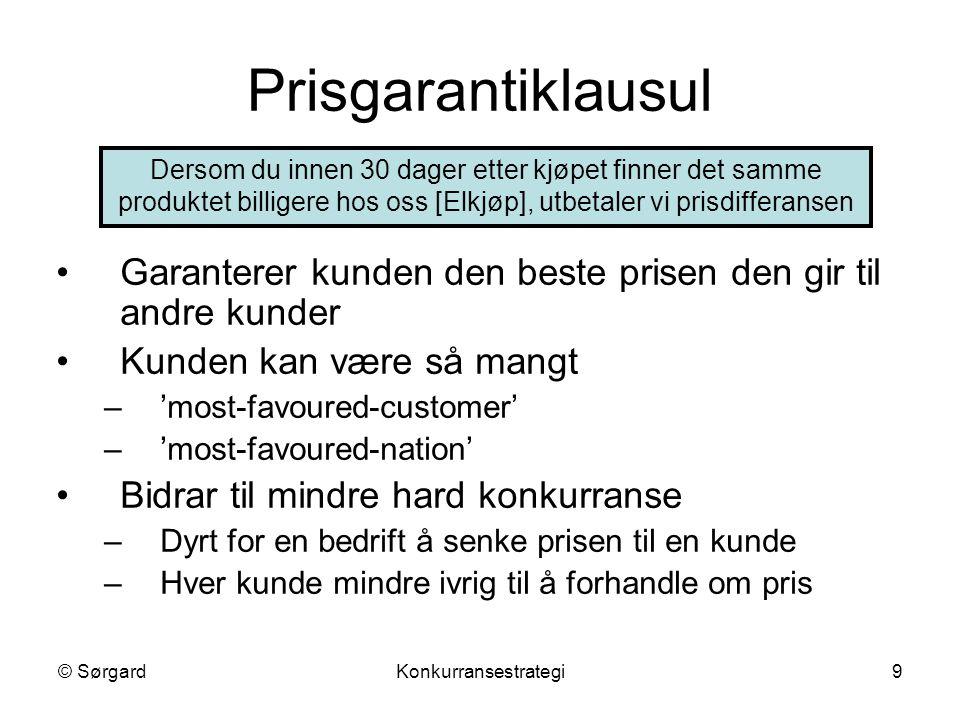 © SørgardKonkurransestrategi9 Prisgarantiklausul Garanterer kunden den beste prisen den gir til andre kunder Kunden kan være så mangt –'most-favoured-