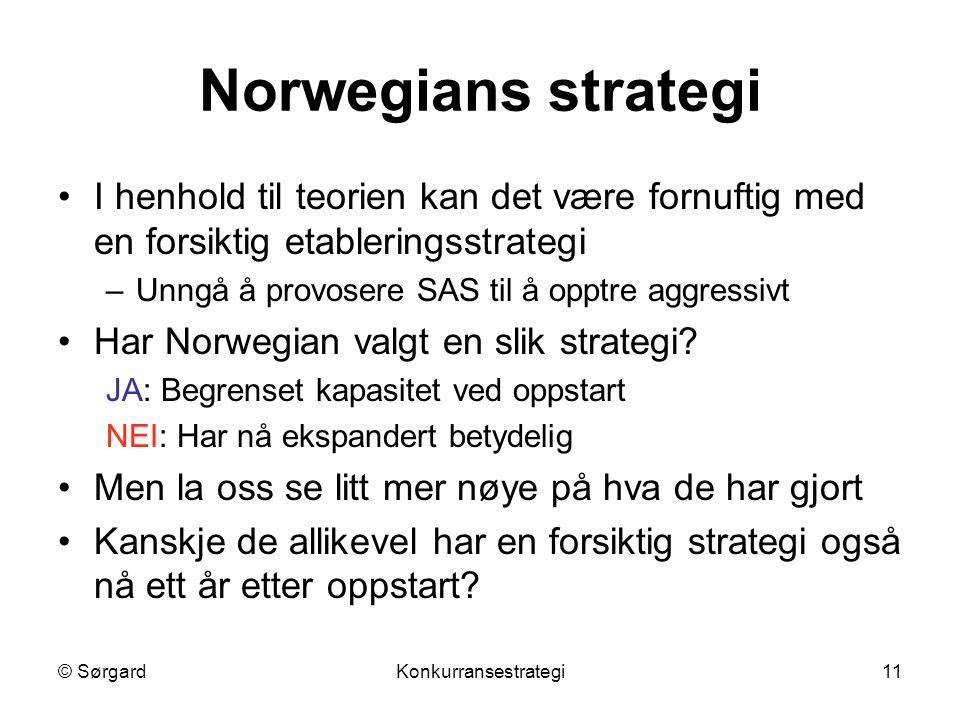 © SørgardKonkurransestrategi11 Norwegians strategi I henhold til teorien kan det være fornuftig med en forsiktig etableringsstrategi –Unngå å provosere SAS til å opptre aggressivt Har Norwegian valgt en slik strategi.