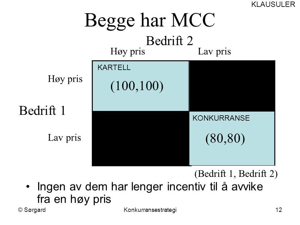 © SørgardKonkurransestrategi12 Begge har MCC Bedrift 2 Høy prisLav pris Bedrift 1 Høy pris Lav pris (100,100) (80,80) (Bedrift 1, Bedrift 2) KARTELL K
