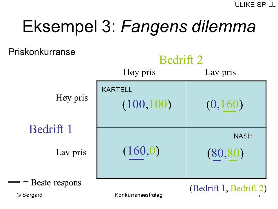 © SørgardKonkurransestrategi8 Fangens dilemma forts.