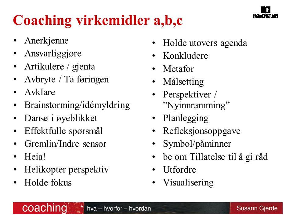 Coaching virkemidler a,b,c Anerkjenne Ansvarliggjøre Artikulere / gjenta Avbryte / Ta føringen Avklare Brainstorming/idémyldring Danse i øyeblikket Ef