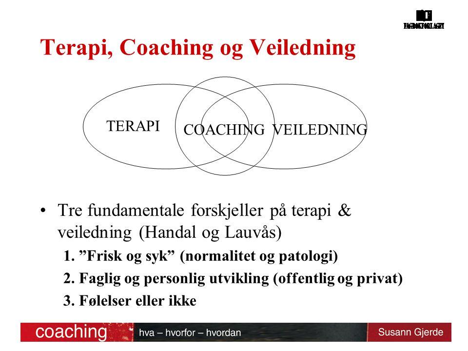 """Terapi, Coaching og Veiledning Tre fundamentale forskjeller på terapi & veiledning (Handal og Lauvås) 1. """"Frisk og syk"""" (normalitet og patologi) 2. Fa"""