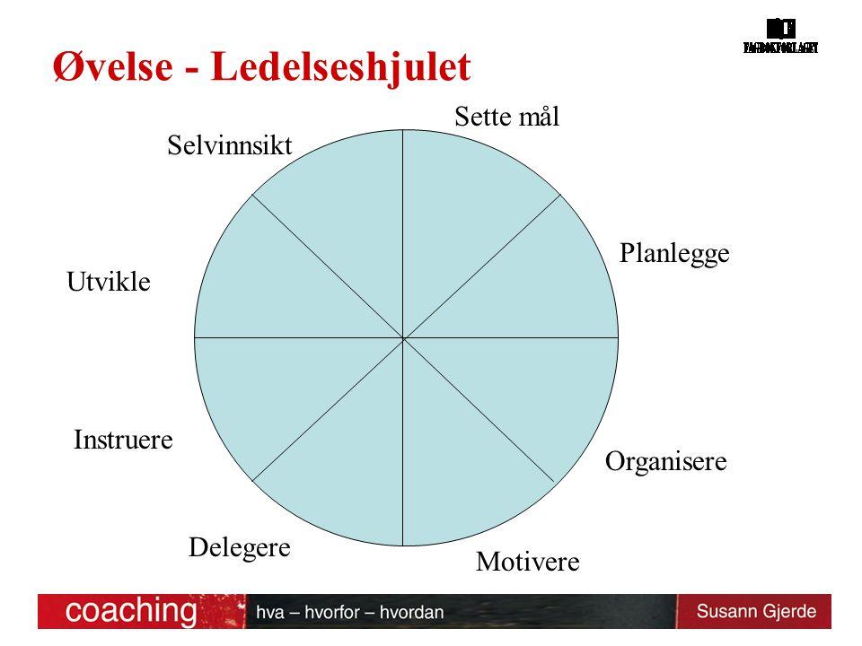 Øvelse - Ledelseshjulet Sette mål Organisere Motivere Delegere Instruere Utvikle Planlegge Selvinnsikt