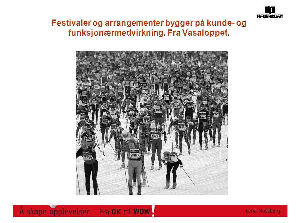 Festivaler og arrangementer bygger på kunde- og funksjonærmedvirkning. Fra Vasaloppet.