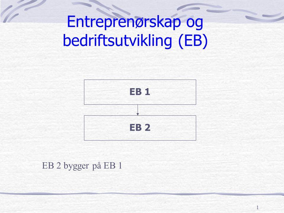 1 Entreprenørskap og bedriftsutvikling (EB) EB 2 EB 1 EB 2 bygger på EB 1