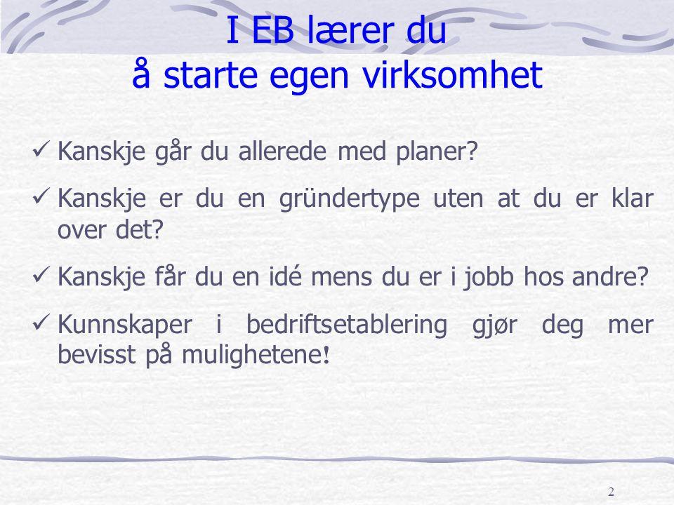 2 I EB lærer du å starte egen virksomhet Kanskje går du allerede med planer? Kanskje er du en gründertype uten at du er klar over det? Kanskje får du