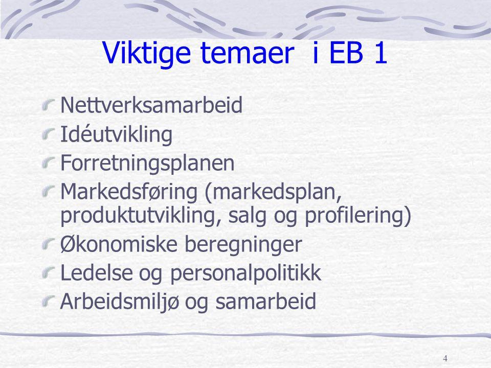 4 Viktige temaer i EB 1 Nettverksamarbeid Idéutvikling Forretningsplanen Markedsføring (markedsplan, produktutvikling, salg og profilering) Økonomiske