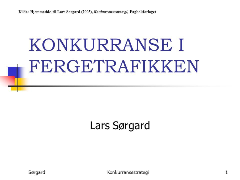 SørgardKonkurransestrategi2 Color LineLarvik Line Color Line versus Larvik Line Første halvdel av 90-tallet: Fredelig sameksistens fra Sør- og Østlandet til Kontinentet Fra midten av 90-tallet mer aktivitet: Hurtigbåter introduseres Delvis omlegging av rutestrukturen