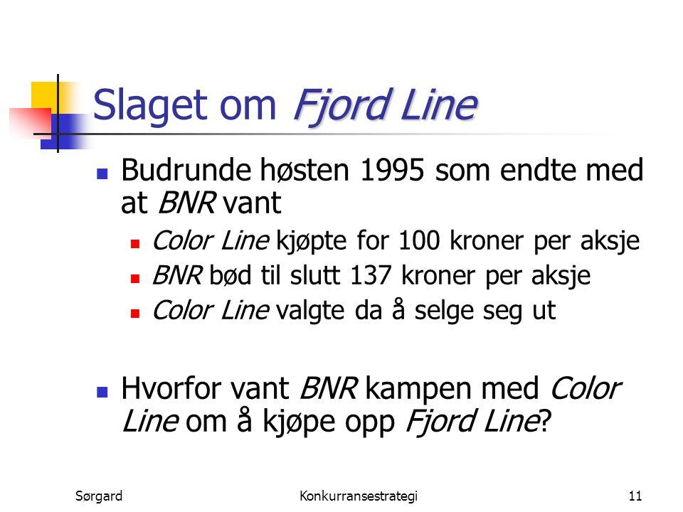 SørgardKonkurransestrategi11 Fjord Line Slaget om Fjord Line Budrunde høsten 1995 som endte med at BNR vant Color Line kjøpte for 100 kroner per aksje