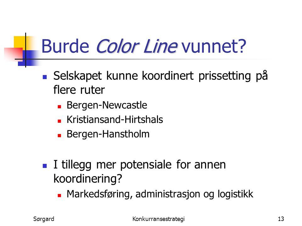 SørgardKonkurransestrategi13 Color Line Burde Color Line vunnet? Selskapet kunne koordinert prissetting på flere ruter Bergen-Newcastle Kristiansand-H
