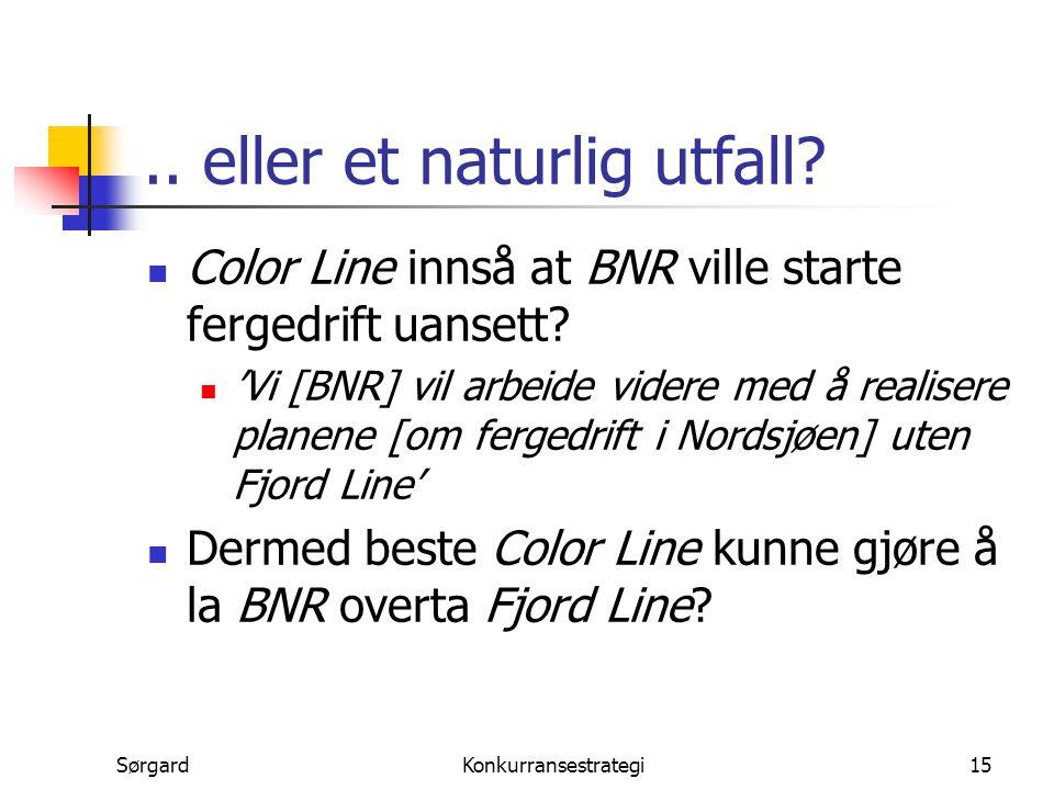 SørgardKonkurransestrategi15.. eller et naturlig utfall? Color Line innså at BNR ville starte fergedrift uansett? 'Vi [BNR] vil arbeide videre med å r