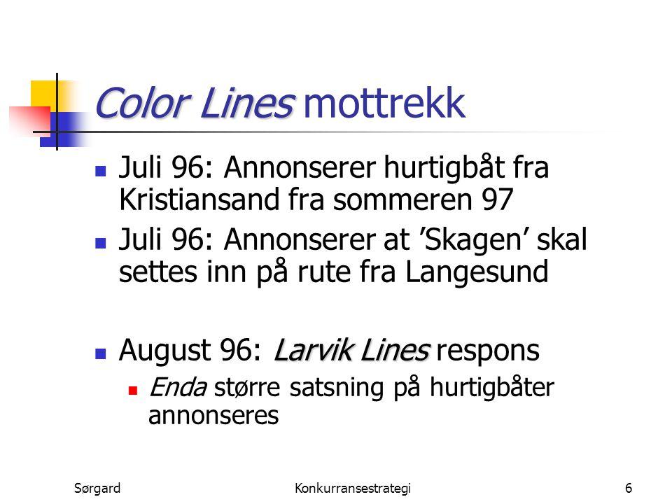 SørgardKonkurransestrategi7 Sunde ber om oppkjøp Color Line Larvik Line September 96: Sunde tilbyr Color Line å kjøpe Larvik Line Color Line Larvik Scandi Line Color Line leier Peter Wessel, som Larvik Scandi Line eier fortsatt Larvik Scandi LineColor Line Larvik Scandi Line kjøper 44.5 % i Color Line