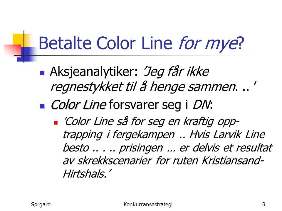 SørgardKonkurransestrategi8 Betalte Color Line for mye? Aksjeanalytiker: 'Jeg får ikke regnestykket til å henge sammen... ' Color Line Color Line fors
