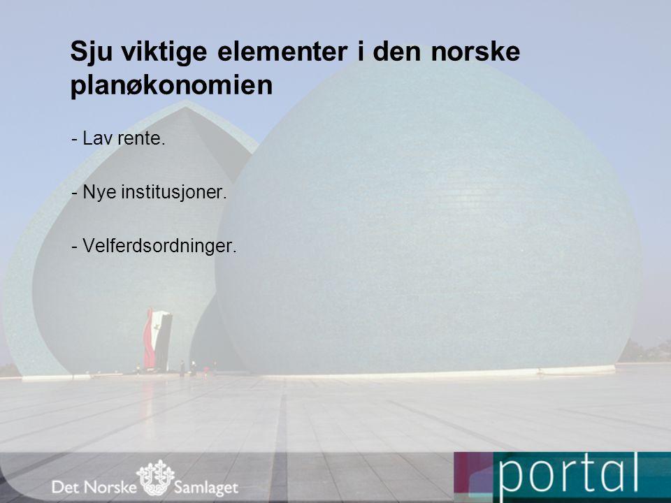 Sju viktige elementer i den norske planøkonomien - Lav rente.