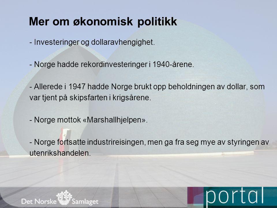 Mer om økonomisk politikk - Investeringer og dollaravhengighet.