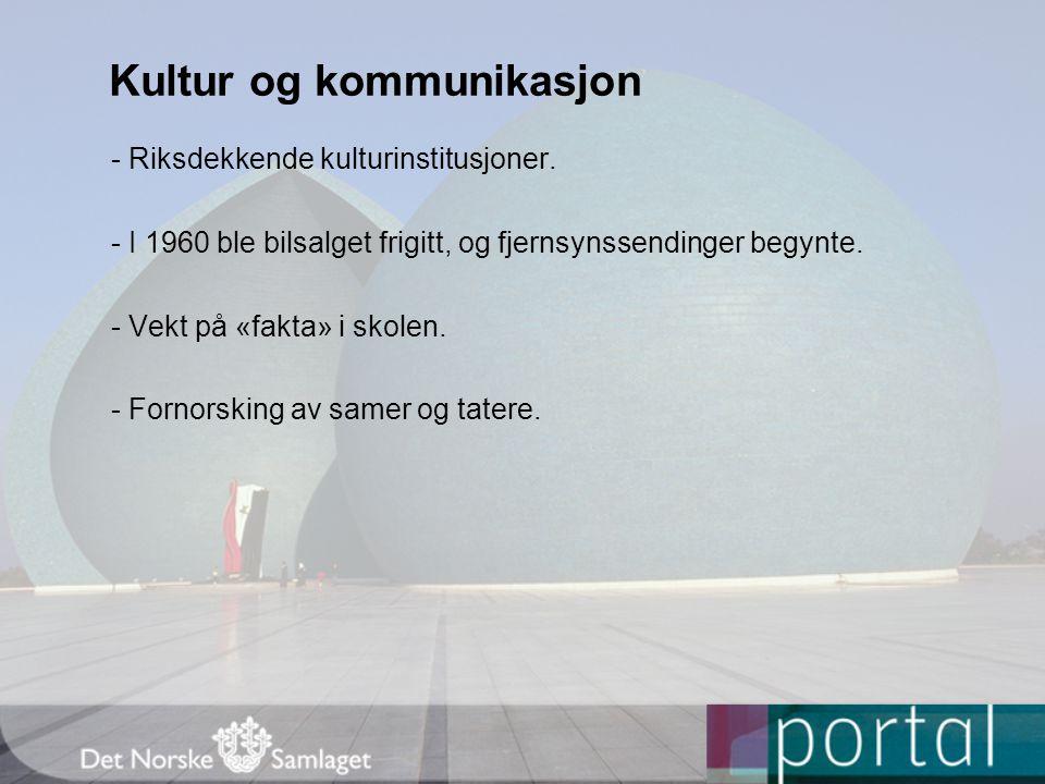Kultur og kommunikasjon - Riksdekkende kulturinstitusjoner.