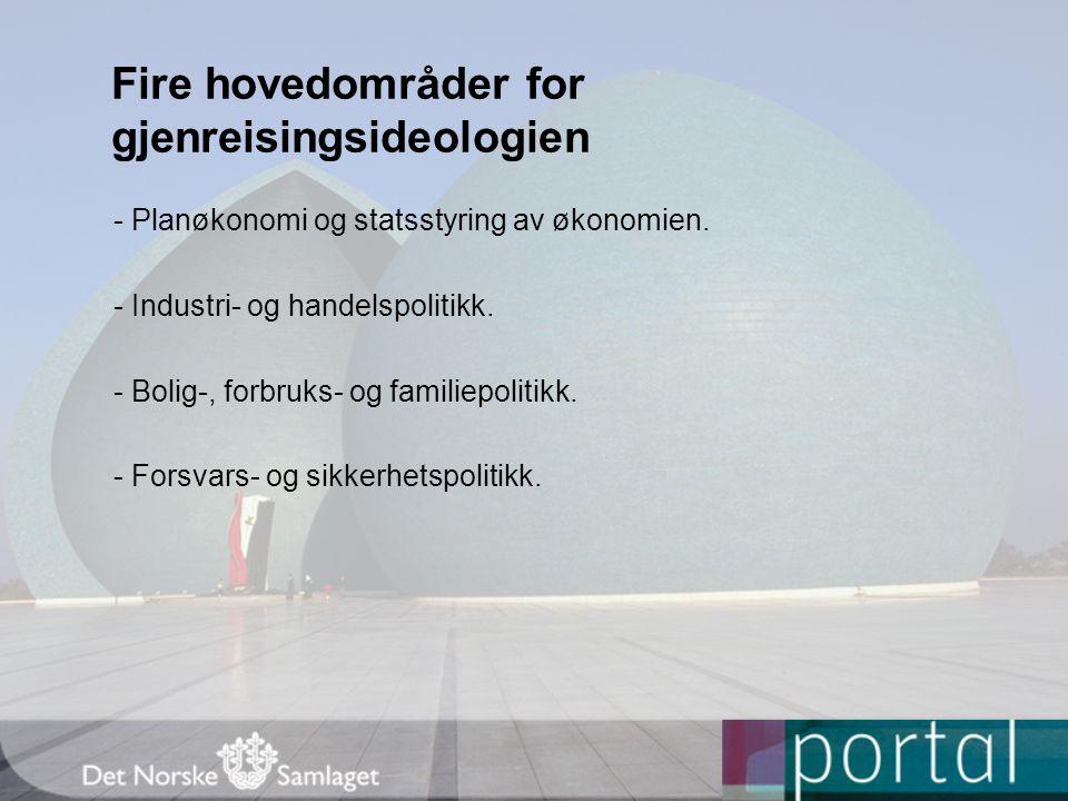 Fire hovedområder for gjenreisingsideologien - Planøkonomi og statsstyring av økonomien.