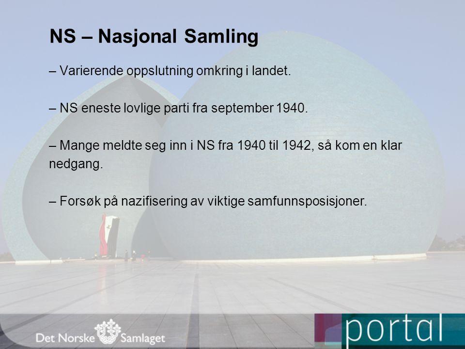 NS – Nasjonal Samling – Varierende oppslutning omkring i landet. – NS eneste lovlige parti fra september 1940. – Mange meldte seg inn i NS fra 1940 ti