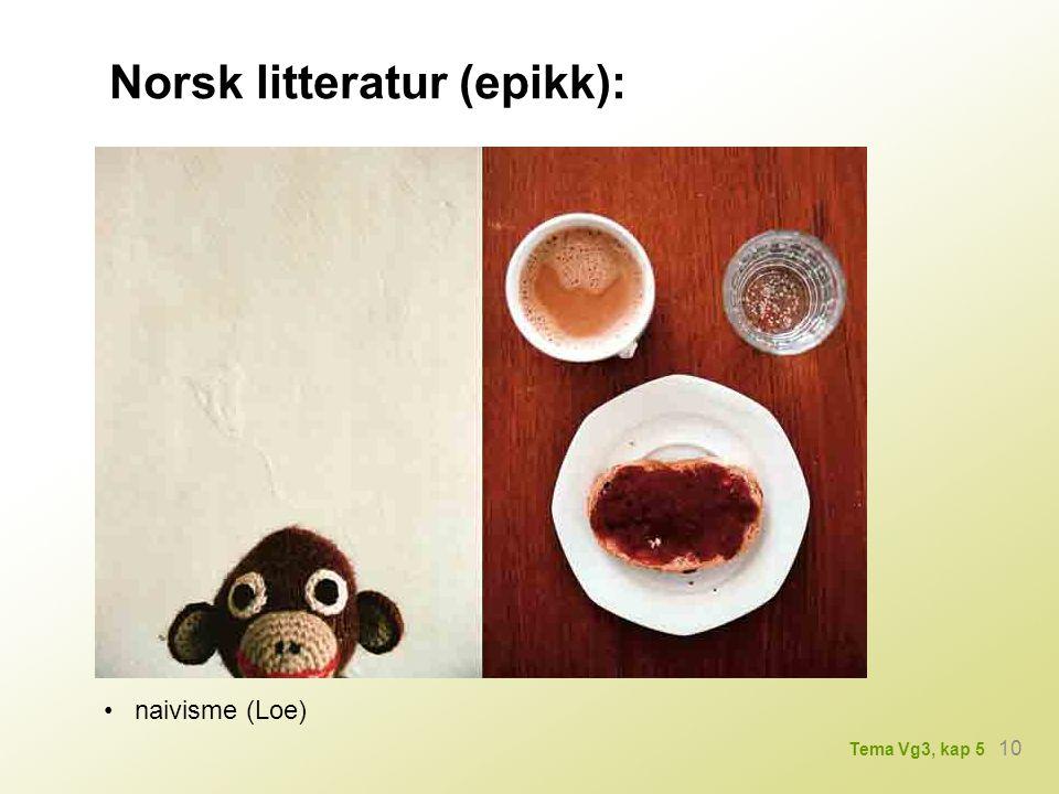 Norsk litteratur (epikk): naivisme (Loe) 10 Tema Vg3, kap 5