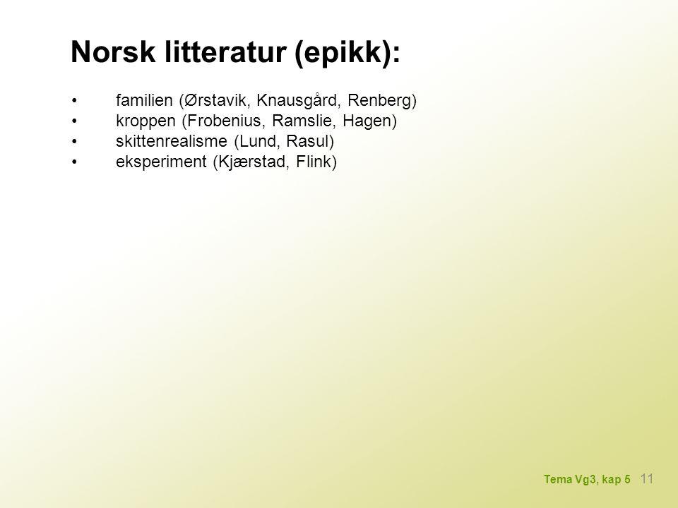 Norsk litteratur (epikk): familien (Ørstavik, Knausgård, Renberg) kroppen (Frobenius, Ramslie, Hagen) skittenrealisme (Lund, Rasul) eksperiment (Kjærstad, Flink) 11 Tema Vg3, kap 5