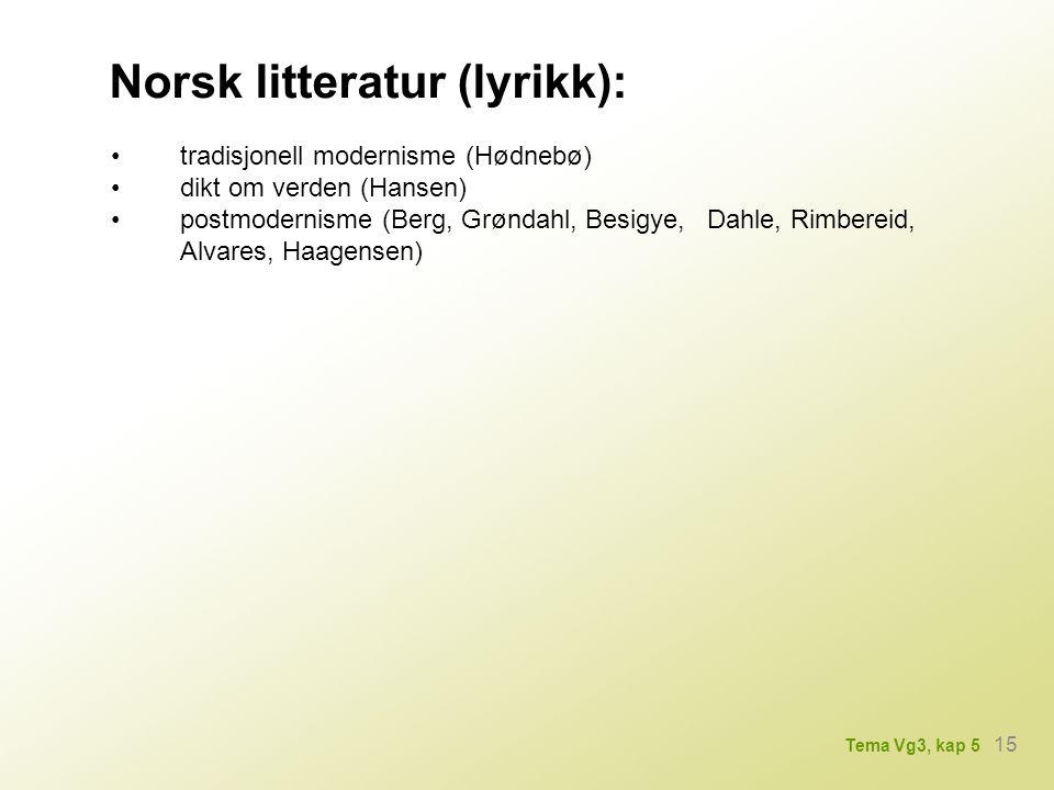 Norsk litteratur (lyrikk): tradisjonell modernisme (Hødnebø) dikt om verden (Hansen) postmodernisme (Berg, Grøndahl, Besigye, Dahle, Rimbereid, Alvares, Haagensen) 15 Tema Vg3, kap 5