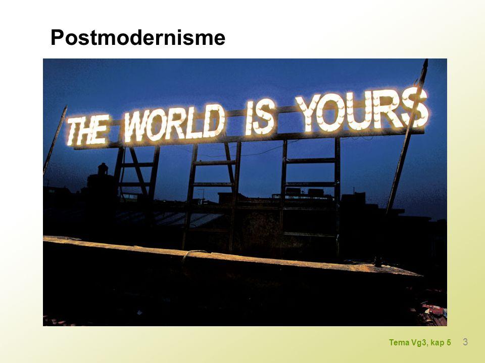 Postmodernisme kunststil og periode tror ikke på store sammenhenger og helheter nåtidsstrømmen nyter friheten erklærer seg fri og iscenesetter seg selv 4 Tema Vg3, kap 5