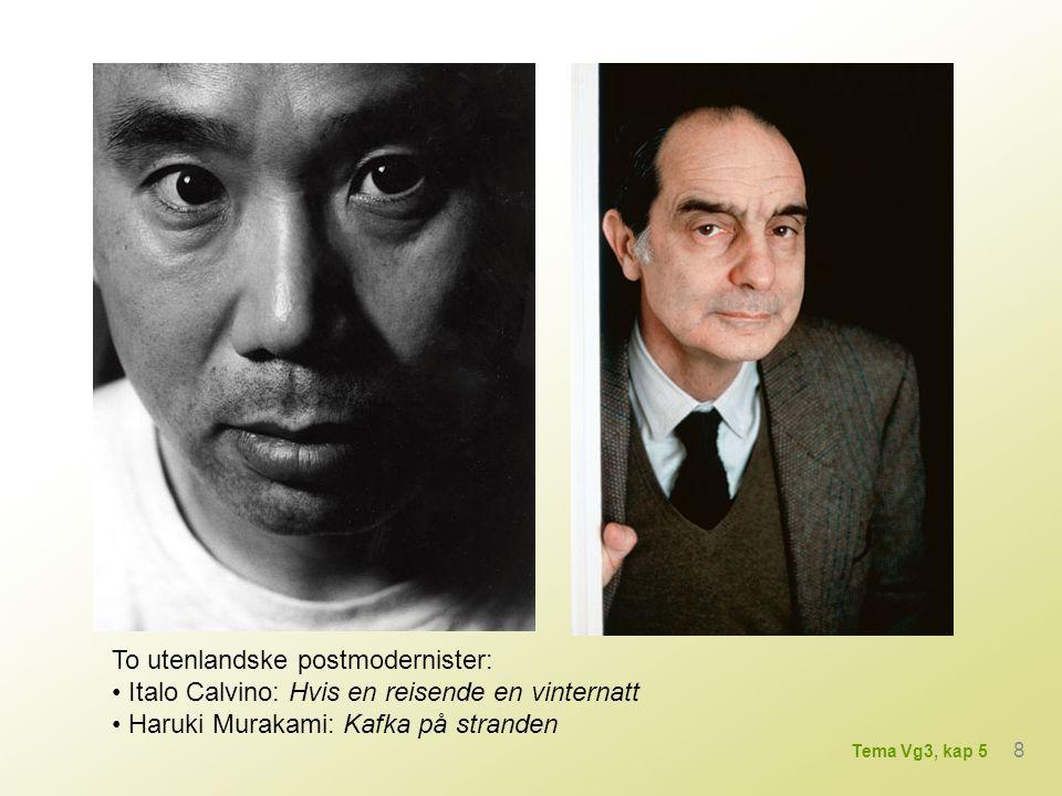 minimalisme (Askildsen, Marstein) eksistensialisme (Solstad, Haff, Petterson) melodrama (Wassmo) munter-melankolsk hverdagsrealisme (Hovland, Ambjørnsen, Christensen, Grytten) 9 Tema Vg3, kap 5