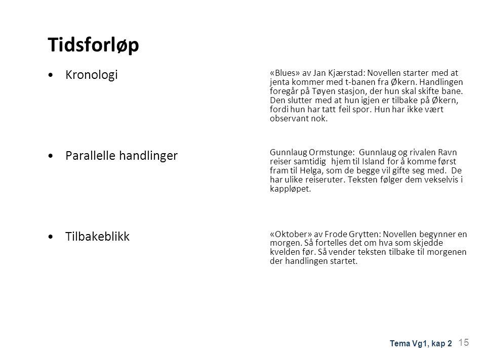 Tidsforløp Kronologi Parallelle handlinger Tilbakeblikk «Blues» av Jan Kjærstad: Novellen starter med at jenta kommer med t-banen fra Økern. Handlinge