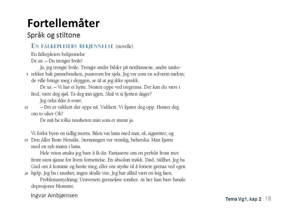 Fortellemåter Språk og stiltone Ingvar Ambjørnsen 18 Tema Vg1, kap 2