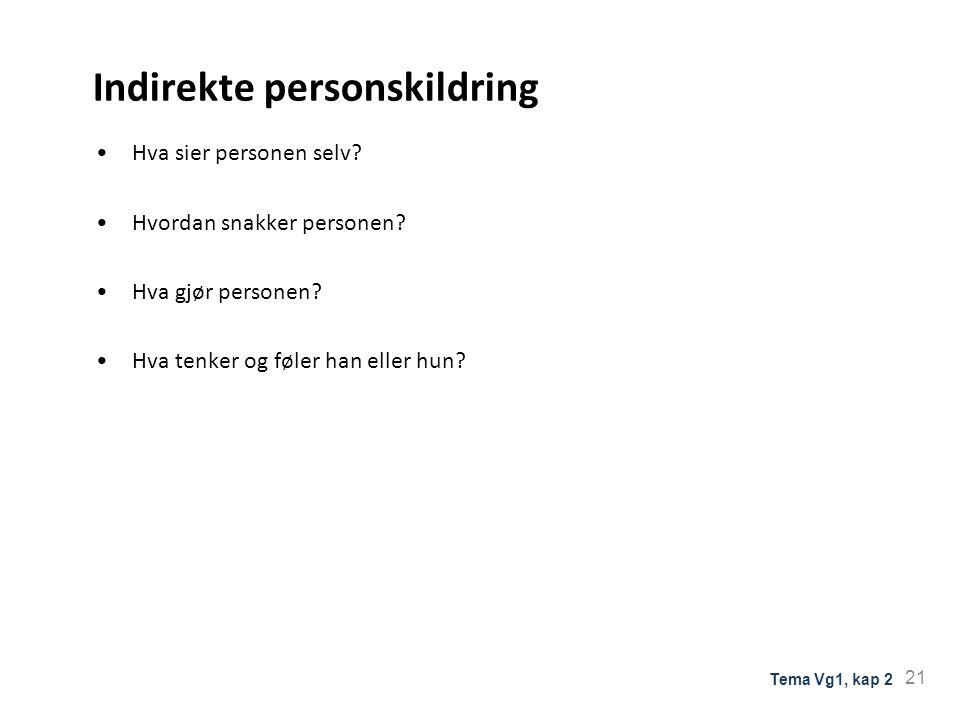 Indirekte personskildring Hva sier personen selv? Hvordan snakker personen? Hva gjør personen? Hva tenker og føler han eller hun? 21 Tema Vg1, kap 2
