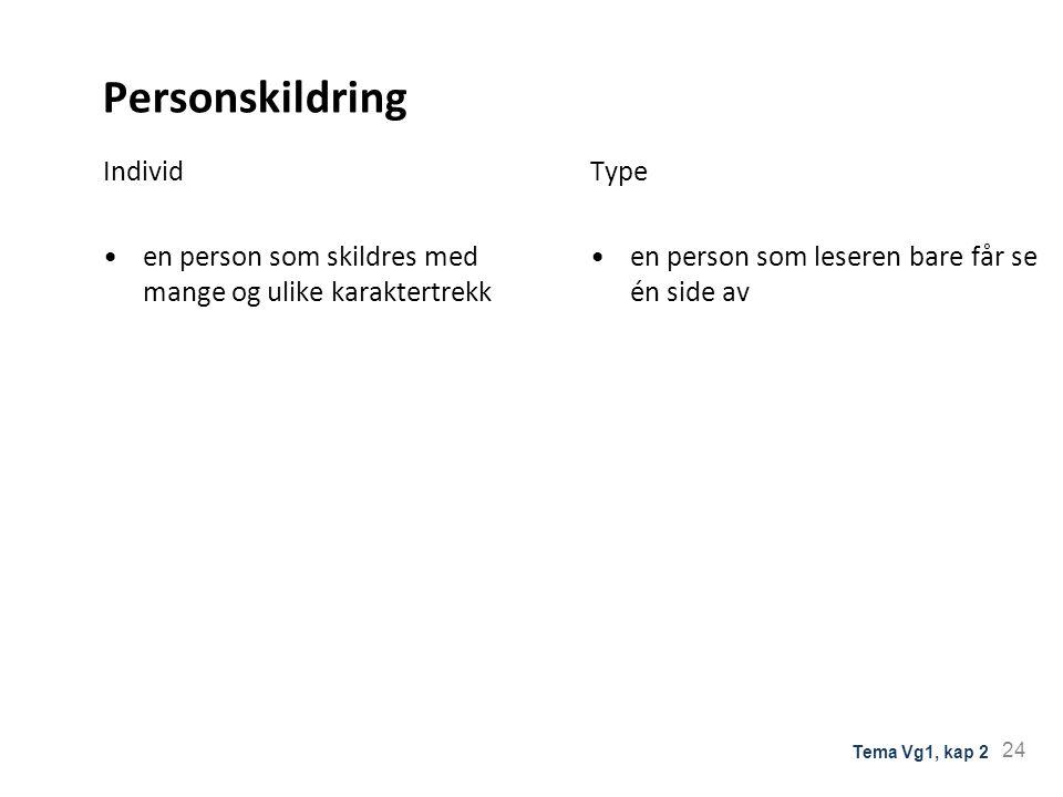 Personskildring Individ en person som skildres med mange og ulike karaktertrekk Type en person som leseren bare får se én side av 24 Tema Vg1, kap 2