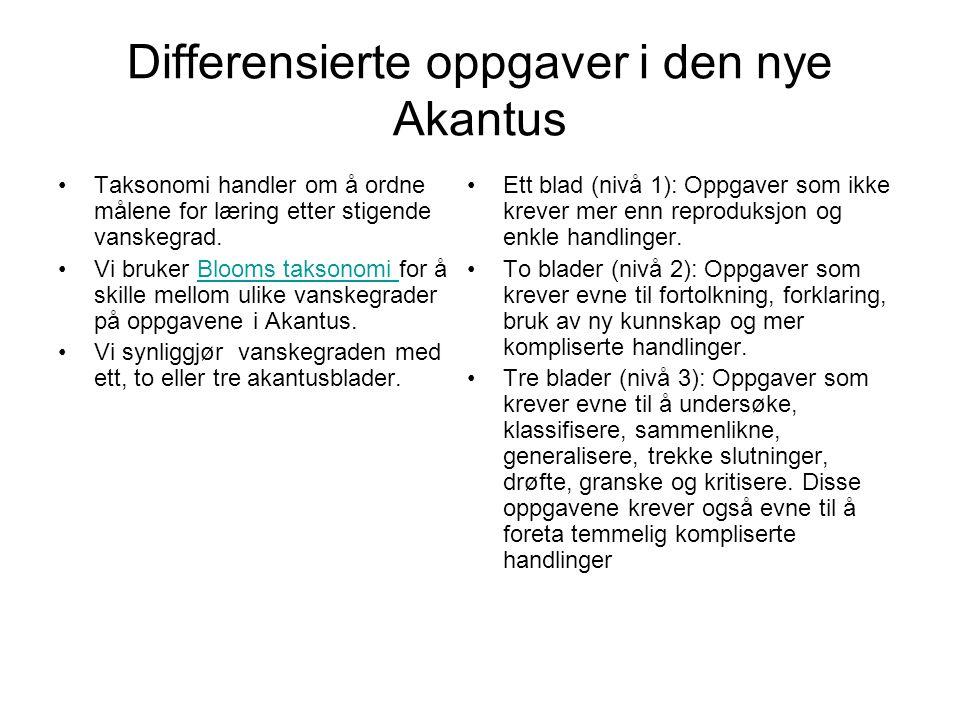 Differensierte oppgaver i den nye Akantus Taksonomi handler om å ordne målene for læring etter stigende vanskegrad. Vi bruker Blooms taksonomi for å s