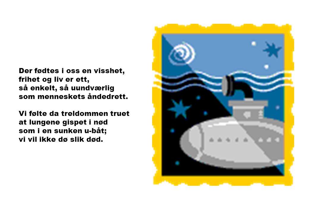 I dag står flaggstangen naken blant Eidsvolls grønnende trær. Men nettopp i denne timen vet vi hva frihet er. Der stiger en sang over landet, seirende